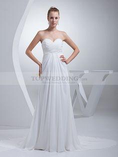 Nadyna - imperio escote corazón vestido de novia de gasa con cuentas