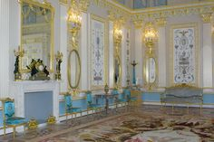 The Arabesque Hall is one of the most exquisite gala rooms created by Charles Cameron for Empress Catherine II at the Tsarskoye Selo Palace.  The rooms suffered severely during World War II.  The re-creation of the Arabesque Hall was started in 2006 to Alexander Kedrinsky's restoration plan of 1979 based on Cameron's drafts from the State Hermitage Museum, pre/post-war photos, and Eduard Hau's watercolor which reflected most truly the interior and the architect's original design.