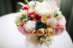 Pink peony roses, hydrangea, lisianthus and blue nigella - a perfect delicate colour palette for a sunny Summer wedding Flower Bouquet Wedding, Rose Wedding, Wedding Day, Bridal Bouquets, Peony Rose, Pink Peonies, Special Day, Floral Wreath, Reception