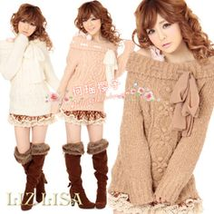Clara LIZ LISA original single-lace bow the knitted crochet collar long sweater coat Specials - Taobao