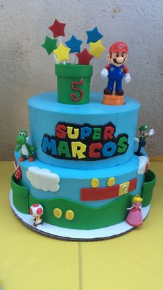 super mario Of the Best Ideas for Mario Birthday Cake Bolo Do Mario, Bolo Super Mario, Mario Bros., Mario Kart, Mario Birthday Cake, Baby Boy Birthday Cake, Super Mario Birthday, 5th Birthday, Birthday Cakes