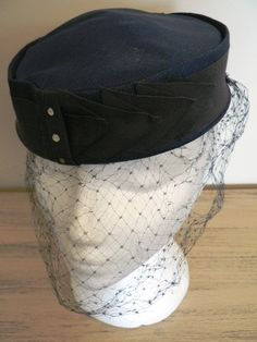 vintage hats   NAVY PILL BOX classic netted by LandLockedCottage, $195.00