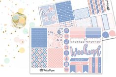 Planner Sticker Weekly Kit Rose Quartz and Serenity for your Erin Condren Life…