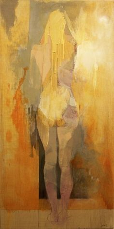 """""""Woman"""" - Jon Wassom {contemporary figurative impressionist artist yellow blonde abstract standing discreet nude female posterior back texture drips painting} Figure Painting, Painting & Drawing, Texture Painting, Kunst Online, Art Moderne, Art And Illustration, Life Drawing, Figurative Art, Love Art"""