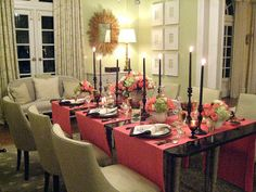 I really like this dining room. Runners like this would be nice for our Passover/Easter table since I don't have an appropriate tablecloth.