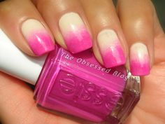 Beautiful gradient from The Obsessed: Essie's HOT The Girls are Out with OPI's My Vampire is Buff.