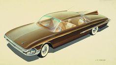 1961 Desoto  Vintage Styling Design Concept Rendering Sketch Drawing