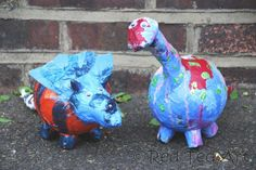 dino papier mache - Moreno's new craft book coming out shows how to make these adorable piggy banks. I think my high school kids would have fun with this.