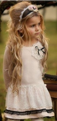 Precious and modest like a little girl should be. wish I could do Sams hair like this