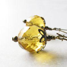 Light Yellow Earrings Light Topaz Czech by UrsulasBeadedJewelry, $16.00