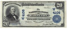 Wahpeton, ND - Ch. 4106 - 1902 $20 Plain Back You would be hard pressed to find a prettier ND blue seal than this $20 note from Wahpeton. It is also fairly scarce. According to census records, only ten other notes exist from this charter.