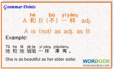 Wordoor Chinese - Chinese grammar points # A is (not) as adj. as B. #chinese #mandarin #grammar #language