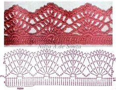Crochet Edging Crochet lace edging by Nilza Souza. Crochet Boarders, Crochet Edging Patterns, Crochet Lace Edging, Crochet Motifs, Crochet Diagram, Crochet Art, Lace Patterns, Filet Crochet, Knit Or Crochet