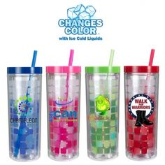 16 oz. Mood Cube Tumbler, Full Color Digital  Changes colour with the temperature of your drink!