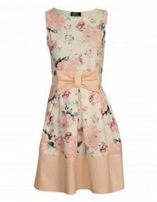 A-Line Floral Print Nude Bow Skater Dress 28263