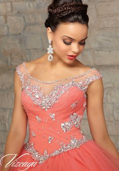 89031 Quinceanera Gowns Tulle with Beading.