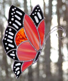 Stained Glass Monarch Butterfly by theglassmenagerie on Etsy