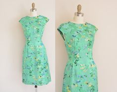 vintage 1950s green satin floral dress / 50s by simplicityisbliss, $124.00