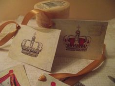 Royal Gift Tags Collection  Adorn With Gold Tie by mslizz on Etsy, $5.00