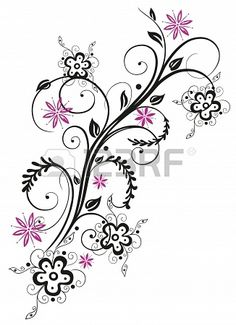 Colorful abstract flowers, pink and black Stock Photo - 21683198