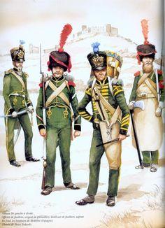 Ufficiale dei fucilieri, sergente dei granatieri, tamburo dei fucilieri e zappatore