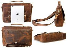 "Handmade Vintage Leather Briefcase / Leather Messenger Bag / 13"" 15"" MacBook or 14"" 15"" Laptop Bag - n14-2 - Thumbnail 2"