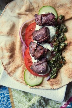 Lamb Kebabs with Tzatziki and Quinoa Tabbouleh #recipe via FoodforMyFamily.com