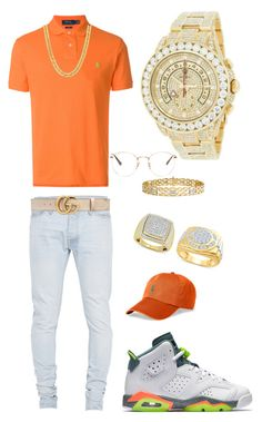A menswear look from January 2018 by tikitress featuring Polo Ralph Lauren Fear of God Gucci RayBan Rolex mens fashion and menswear Dope Outfits For Guys, Swag Outfits Men, Stylish Mens Outfits, Hype Clothing, Mens Clothing Styles, Tomboy Fashion, Men's Fashion, Fresh Outfits, Swagg