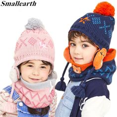 f5fb3334366 New Winter Children Warm Thick Girls Hat Scarf Set Knitted Baby Boys Girls  Cartoon Beanies Caps Neck Warmers Ear protection Set .