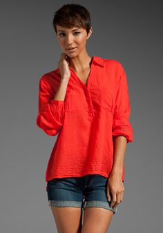 AG Adriano Goldschmied Double Pocket Henley in Tomato
