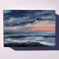 coastal art. Original 4 x 4 oil on cradled wood panel bluff painting