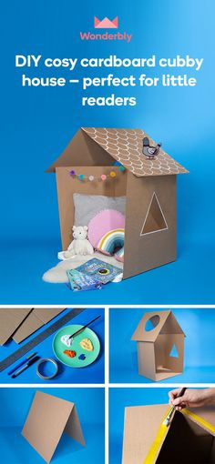 DIY cosy cardboard cubby house – perfect for little readers Indoor Activities For Kids, Games For Toddlers, Toddler Activities, Cardboard Costume, Cardboard Box Crafts, Crafts To Make, Fun Crafts, Reading Nook Kids, Cubby Houses