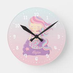 Cute Mermaid Girl Ombre Kids Room Decor Clock - Oh. the life of a mermaid. Room Decor Bedroom, Diy Room Decor, Home Decor, Bedroom Ideas, Diy Bedroom, Wall Decor, Stylish Bedroom, Room Decorations, Wall Art