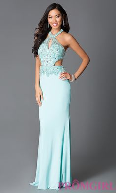 Aqua Beaded Long High Neck Prom Dress With Cut Outs CD-GL-G589