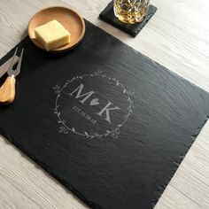 Personalized Cheese Board, Personalized Items, Slate Cheese Board, The Slate, Monogram Letters, Graduation Gifts, House Warming, Wedding Gifts, Floral Wreath