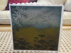 Pan pastels and stamping on black card