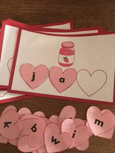 Kindergarten Reading- Valentine's Day CVC Word practice. The heart letters can be used for other games too!