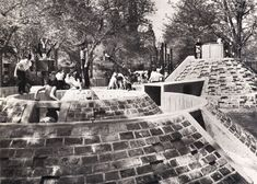 The concentric circular ramparts, interconnected tunnelworks, spiral volcano.  Richard Dattner's 67th Street Adventure Playground, Central P...