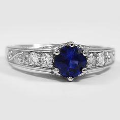 Platinum Sapphire Art Deco Filigree Diamond Ring // Set with a 6mm Super Premium Blue Round Sri Lankan Sapphire #BrilliantEarth