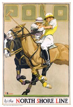 Items similar to USA - North Shore Line - Polo - (artist: Oscar Rabe Hanson c. Artwork (Art Prints, Wood & Metal Signs, Canvas, Tote Bag, Towel) on Etsy Vintage Advertising Posters, Vintage Travel Posters, Poster Vintage, Chicago Poster, Horse Posters, Maps Posters, Polo Horse, Le Polo, Kunst Poster