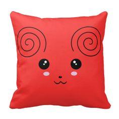 Cute Anime Mouse Face Throw Pillow