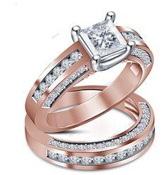 3.50CT Princess Cut D/VVS1 Diamond 925 Silver Women's Bridal Engagement Ring Set #affordablebridaljewelry