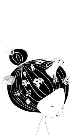 Black and White Nursery Print Affordable Wall Art Forest Animals Print Girl Nursery Decor Fairy Tale Illustration Woodland Creatures Baby room Baby Room Art, Baby Wall Art, Baby Art, Art Wall Kids, Nursery Wall Art, White Nursery, Girl Nursery, Nursery Decor, Wall Decor