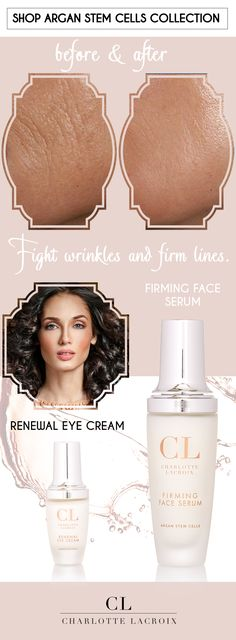 This Is Your Weapon Against WRINKLES and FIRM LINES!  Argan Stem Cells skincare routine, starting at $31! www.charlottelacroix.com