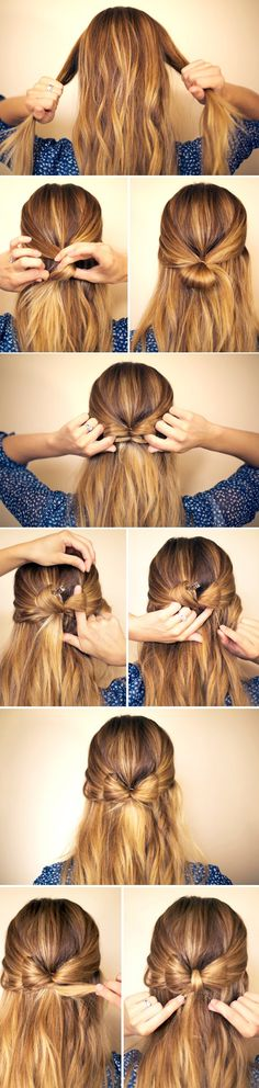 Hair Bow Hairstyle Tutorial Step by Step! Bow Braid, Hair Bow Bun, Bun Bow, Braid Hair, Prom Hairstyles For Long Hair, Cute Hairstyles, Braided Hairstyles, Beautiful Hairstyles, Bow Hairstyle Tutorial