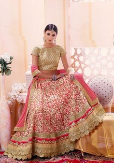 Coral Rose Peach Net Semi-Stitched Lehenga With Zari