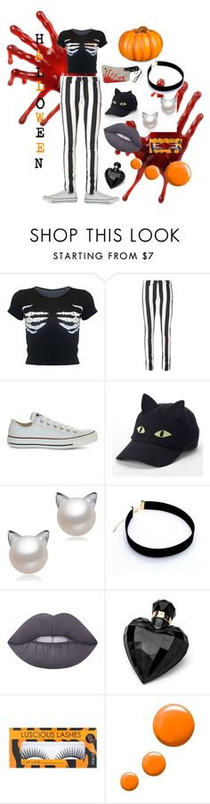 """Who's Ready For Halloween"" by fettywaplover679 ❤ liked on Polyvore featuring Off-White, Converse, Kreepsville 666, Lime Crime, Lipsy, Topshop, Improvements and slay"