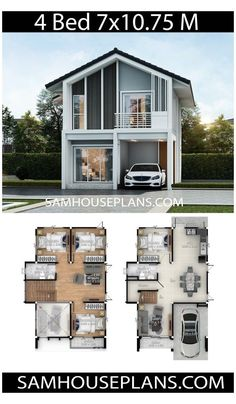 House Plan Discover House plans idea with 4 bedrooms - Sam House Plans House plans idea with 4 bedroomsThe House has:Building size (m X m) : x size (Sq.m) : size (Square wah) : 39 Two Story House Design, 2 Storey House Design, Simple House Design, House Front Design, Modern House Design, Sims House Plans, House Layout Plans, Dream House Plans, Small House Plans