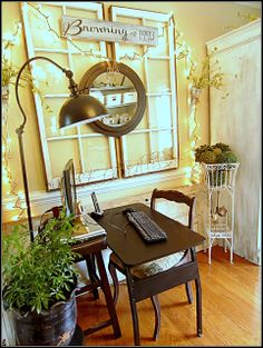Layer Window, Mirror, Sign. Down to Earth Style: Decorating with Old Windows & Where to Find Them
