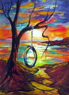 Acrylic Painting Lesson for Beginners Unique Tire Swing at Sunset Acrylic Painting Lessons for Acrylic Painting Lessons, Acrylic Art, La Art, Diy Canvas Art, Alcohol Ink Art, Pastel Art, Wall Art Designs, Learn To Paint, Rock Art